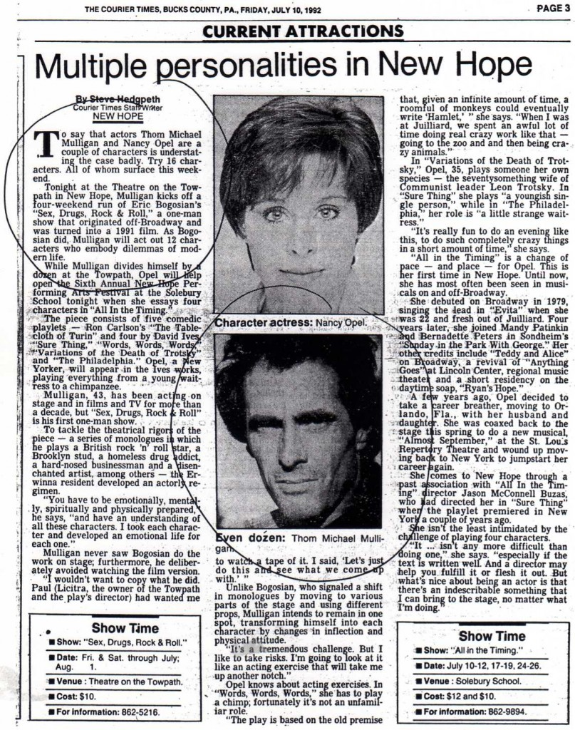 Courier Times article, Friday July 10, 1992, Thom Michael Mulligan