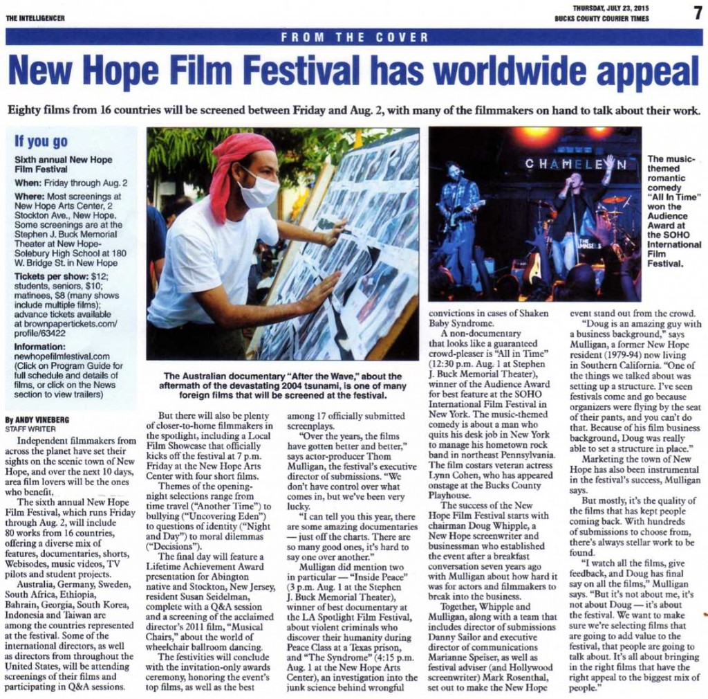 New Hope Film Festival has worldwide appeal - article - Bucks County Courier Times - July 23, 2015